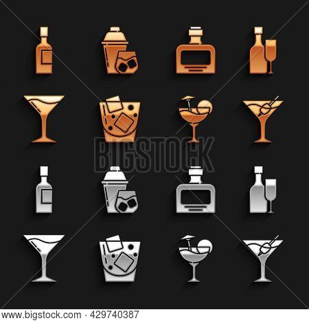Set Glass Of Whiskey, Wine Bottle With Glass, Martini, Cocktail, Whiskey, Champagne And Shaker Icon.