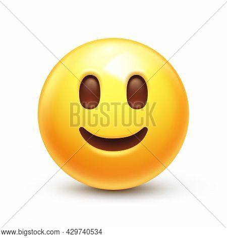 Friendly Emoticon, Happy Yellow Face With Simple Closed Smile 3d Stylized Vector Icon