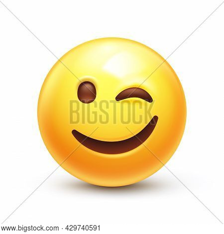 Eye Wink Emoji, Funny Yellow Emoticon With Smiling Lips 3d Stylized Vector Icon