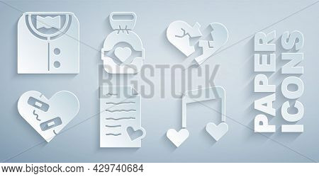 Set Envelope With Valentine Heart, Broken Or Divorce, Healed Broken, Music Note, Tone Hearts, Chocol