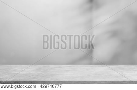 Empty Cement Shelf And Blurred Shadow Leaves Background Studio Well Editing Display Products On Floo