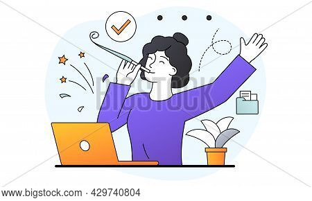 Success In Work, Winning Online, Technology Concept. Smiling Female Character Sitting In Office With