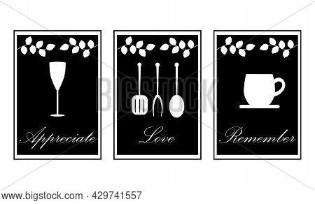 Cute Set Of Minimalistic Kitchen Essential Items With Romantic Lettering. Scandinavian Minimalist. T