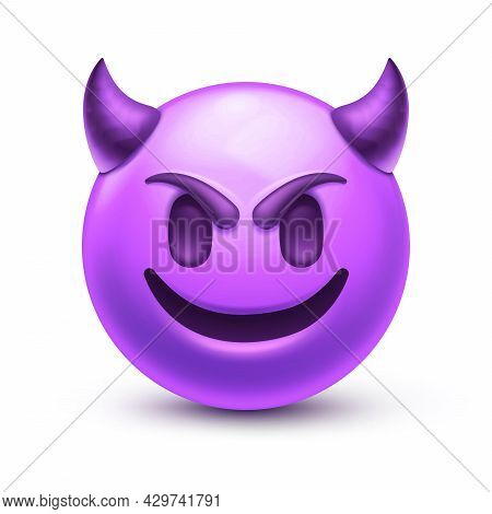 Happy Purple Emoticon With Devil Horns, Gloating Demon 3d Stylized Vector Icon