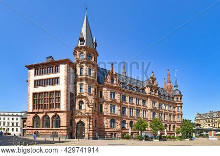 Wiesbaden, Germany - July 2021: Back Side Of City Hall Building Called 'new Town Hall' At Market Squ