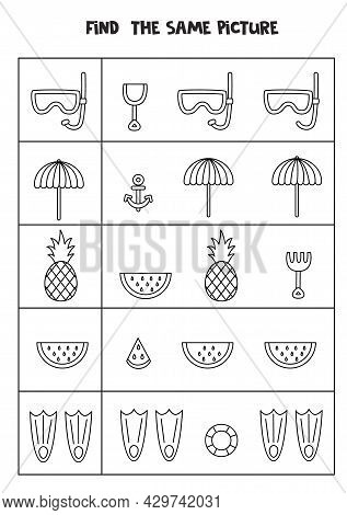 Find The Same Picture Of Black And White Summer Elements. Educational Worksheet For Kids.
