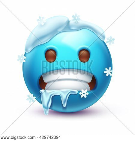 Freezing Emoticon, Icy Blue Face With Gritted Teeth, Icicles And Snow Cap 3d Stylized Vector Icon