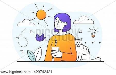 Young Pretty Female Character Is Relaxing Drinking A Cup Of Coffee. Young Cute Woman Is Sitting And