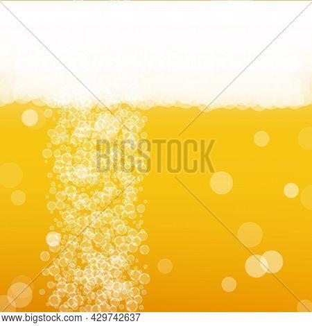 Lager Beer. Background With Craft Splash. Oktoberfest Foam. Czec