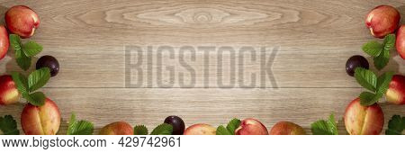 Fruit Background Flat Lay Of Peaches Nectarines And Plums With Mint Leaves Wooden Overlay Empty Spac