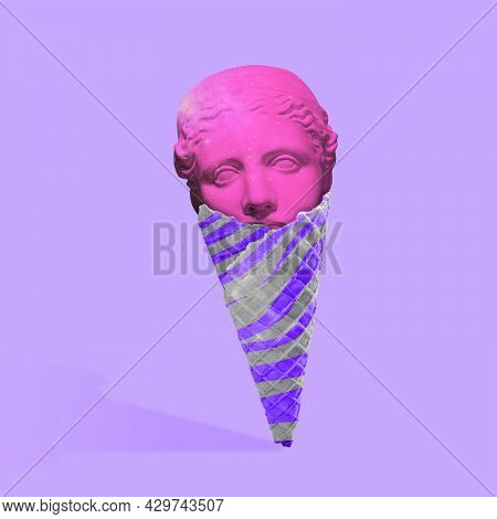 Contemporary Art Collage, Modern Design. Summertime Mood. Icecream Filled With Antic Statue Head On