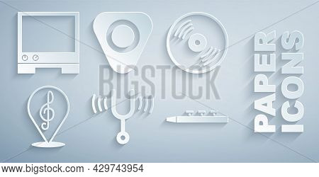 Set Musical Tuning Fork, Vinyl Disk, Treble Clef, Drum And Drum Sticks, Guitar Pick And Voice Assist