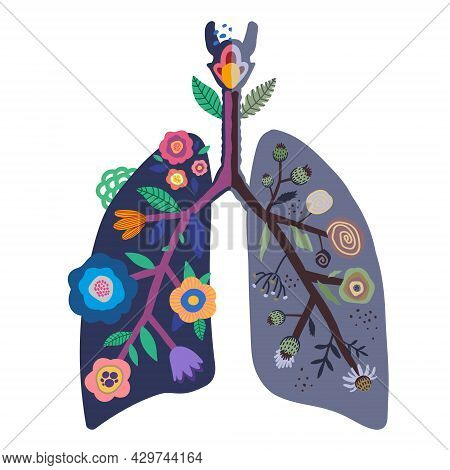 Lungs Of A Healthy And Sick Person. Illustration Of The Comparison Of The Lungs Of A Healthy Person