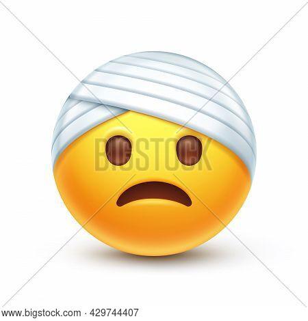 Bandaged Head Emoji. Injured Emoticon With Head-bandage, Clumsy Yellow Face With Sad Smile 3d Styliz