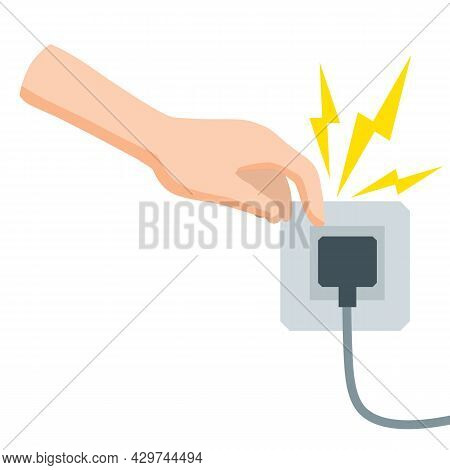 Electric Shock And Short Circuit. High Voltage. Dangerous Situation. Damaged Electrical Wire. Safety