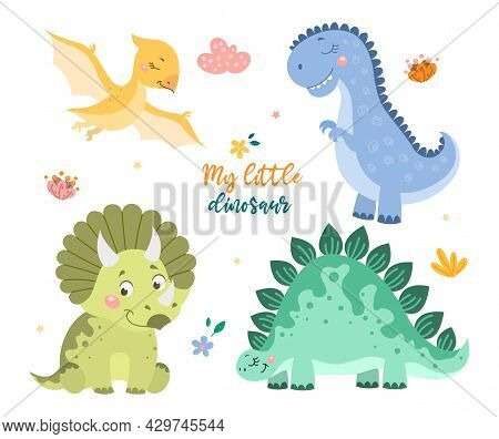 Childish Set With Cute Baby Dino Collection On White Background. Concept Of Dinosaur Animals, Mom An