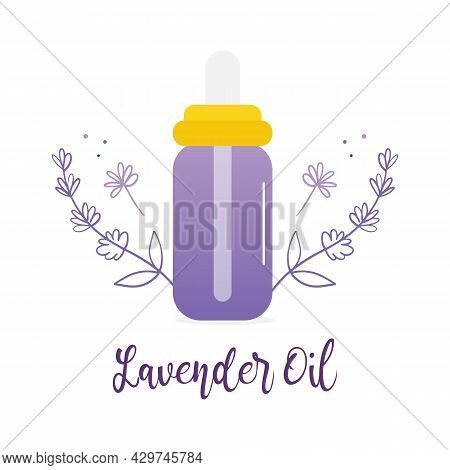 Bottle Of Lavender Oil With Doodle Style Lavender Flowering Branches Vector Icon, Illustration For A