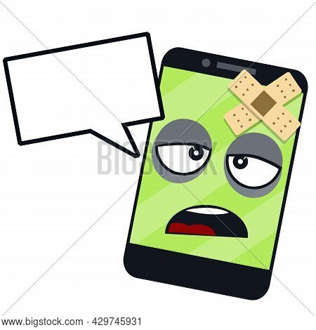Sick Phone. Virus And Bug. Problem With Device. Repair And Service. Illness Sad Face On Green Screen