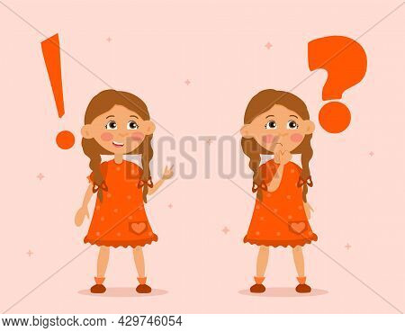 Little Female Character Is Standing Near Exclamation And Question Mark. Concept Of Child On The Back