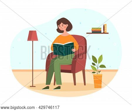 Young Female Character Is Sitting In The Armchair Relaxing And Reading A Book. Concept Of People Sta