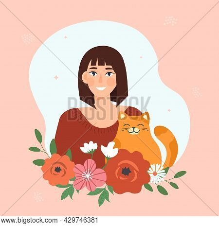Smiling Brunette Female Character With Cute Cat And Flower Decoration On Pink Background. Beautiful