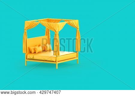 Minimalistic Yellow Bed With Canopy On Teal Background. 3d Rendering