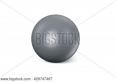 Grey Fitness Ball Isolated On White Background. Pilates Training Ball. Fitball 3d Rendering Model Fo