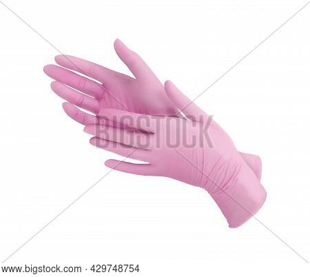Two Pink Surgical Medical Gloves Isolated On White Background With Hands. Rubber Glove Manufacturing