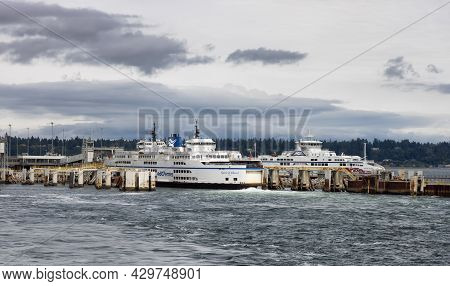 Tsawwasen, Greater Vancouver, Bc, Canada - August 07, 2021: Bc Ferries At The Terminal During A Sunn