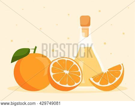 Orange Essential Oil In Glass Bottle And Fresh Oranges On Pastel Yellow Background. Fresh Oranges An
