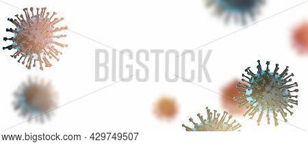 Covid-19 Virus, Coronavirus, Virus Floating In A Cellular Environment. 3d Rendering. Free Space For