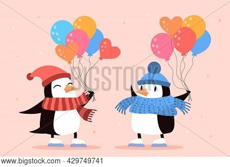 Two Cute Penguins With Colorful Balloons On Pink Background. Childish Poster With Two Penguins Dress