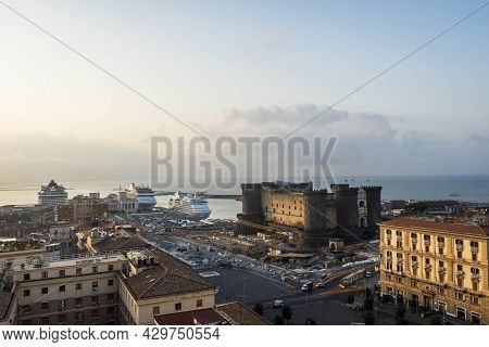 Morning Aerial Image Of The City Of Naples Italy With The Bay Of Naples