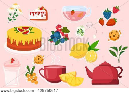 Set Of Cute Teatime Elements On Pink Background. Cups, Teapots, Sweets And Kitchen Utensils. Templat