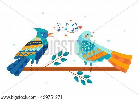 Cute Colorful Bird Is Singing A Love Song To Another Bird On The Branch. Concept Of Valentine S Day