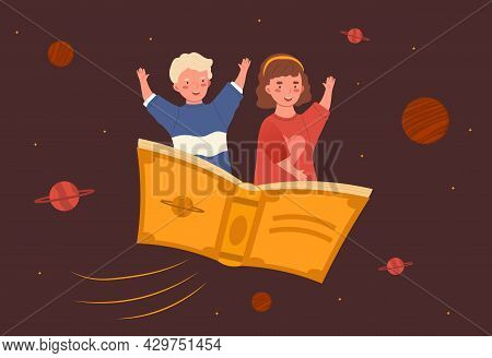 Two Little Happy Kids Are Flying On The Book On Brown Background. Concept Of Little Children Using T