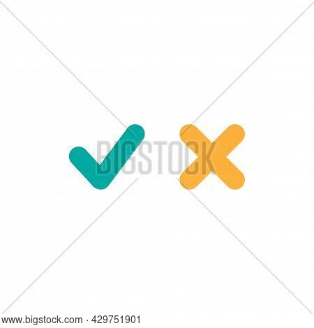 Set Of Check Mark Icons. Rounded Blue Tick And Cross. Flat Cartoon Style. Vector Validation Illustra
