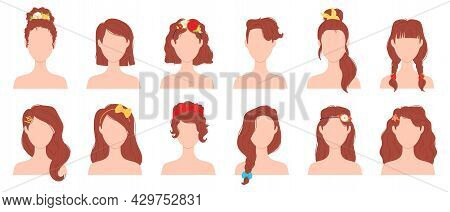 Flat Woman Hairstyles With Flower, Ribbon And Bow Accessory. Young Female Haircut With Hair Pins, Ti