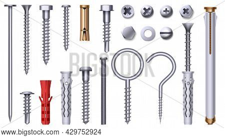 Realistic Steel Nut, Bolt, Screw And Plastic Dowel. 3d Metal Hardware Elements With Thread. Stainles