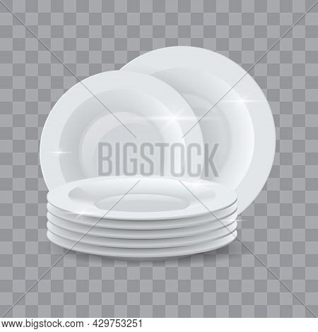Washed Dishes. Realistic Clean Dinner Plates Stack For Detergent Or Dishwasher Soap Ads. Ceramic Shi