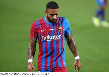 Barcelona, Spain. 08th August 2021 . Memphis Depay Of Fc Barcelona  During The Pre-season Friendly M