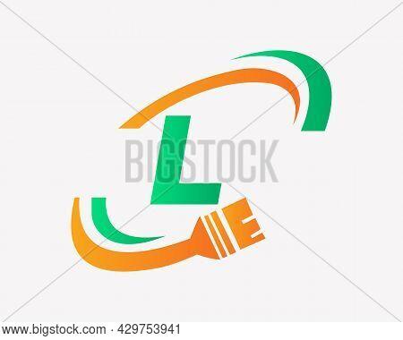 Paint Logo With L Letter Concept. L Letter House Painting Logo Design