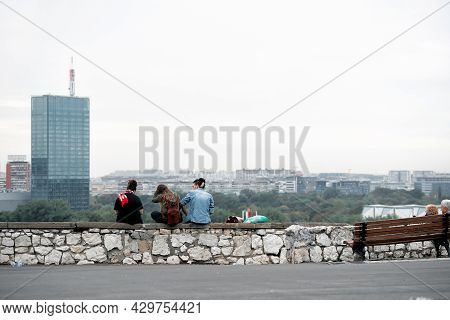 Belgrade, Serbia - September 27, 2019: Group Of Young Overlooking New Belgrade Municipality Of The C