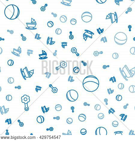 Set Line Rattle Baby Toy, Beach Ball And Baby Stroller On Seamless Pattern. Vector