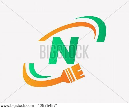 Paint Logo With N Letter Concept. N Letter House Painting Logo Design