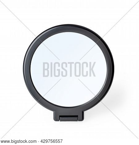 Cosmetic Mirror Isolated On White Background. Desktop Makeup Mirror With Stand Close-up. Home Round