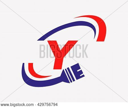 Paint Logo With Y Letter Concept. Y Letter House Painting Logo Design