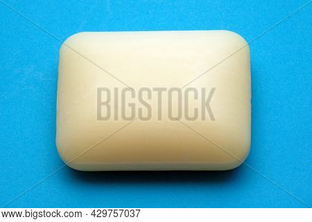 Antibacterial Moisturising Hand Soap Bar Isolated On Blue Background