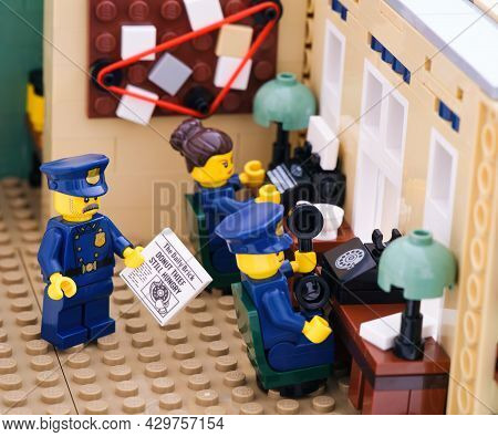 Tambov, Russian Federation - August 02, 2021 Three Lego Police Officers Working In Their Police Stat