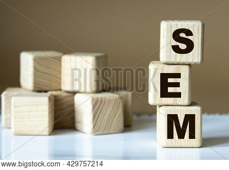 Sem (search Engine Marketing) - Acronym Nadrevyannye Cubes On A Brown Background